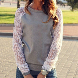 Lace Splicing Scoop Pullover Loose Long Sleeve T-shirt - Oh Yours Fashion - 1