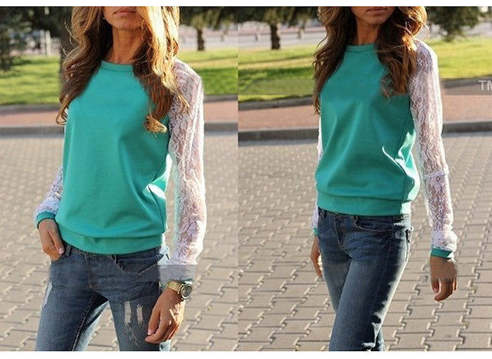 Lace Splicing Scoop Pullover Loose Long Sleeve T-shirt - Oh Yours Fashion - 4
