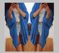 Batwing Solid Pleated Loose Long Cardigan - Oh Yours Fashion - 1