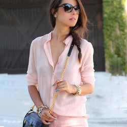 Long Sleeves Pure Color V-neck Slim Blouse - Oh Yours Fashion - 1