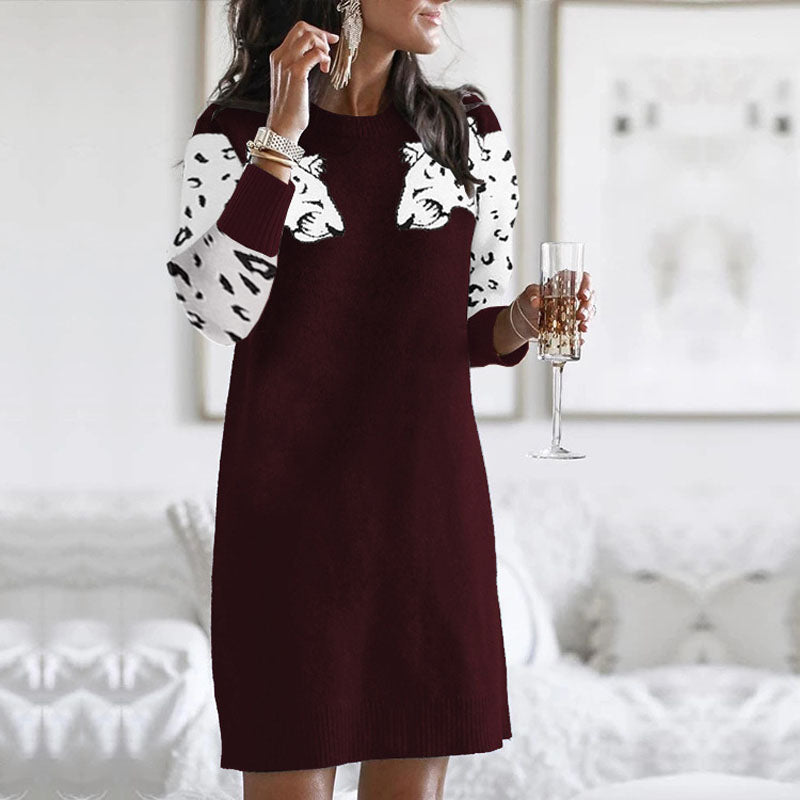 Leopard Print Knit Short Sweater Dress
