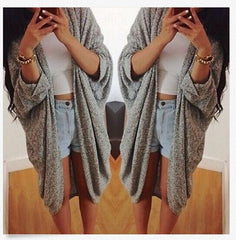 Batwing Solid Pleated Loose Long Cardigan - Oh Yours Fashion - 5
