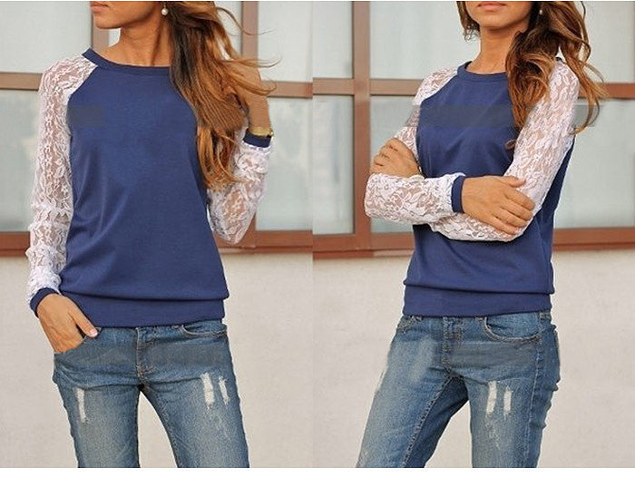 Lace Splicing Scoop Pullover Loose Long Sleeve T-shirt - Oh Yours Fashion - 6