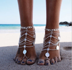 Beautiful Coin Multi-layer Tassel Anklet - Oh Yours Fashion - 2