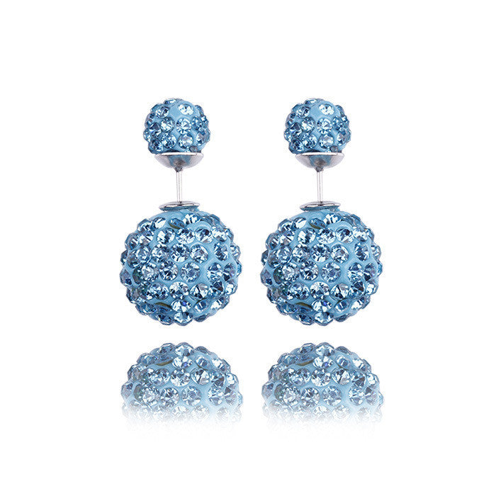 Crystal Double Shambhala Ball Earring - Oh Yours Fashion - 8
