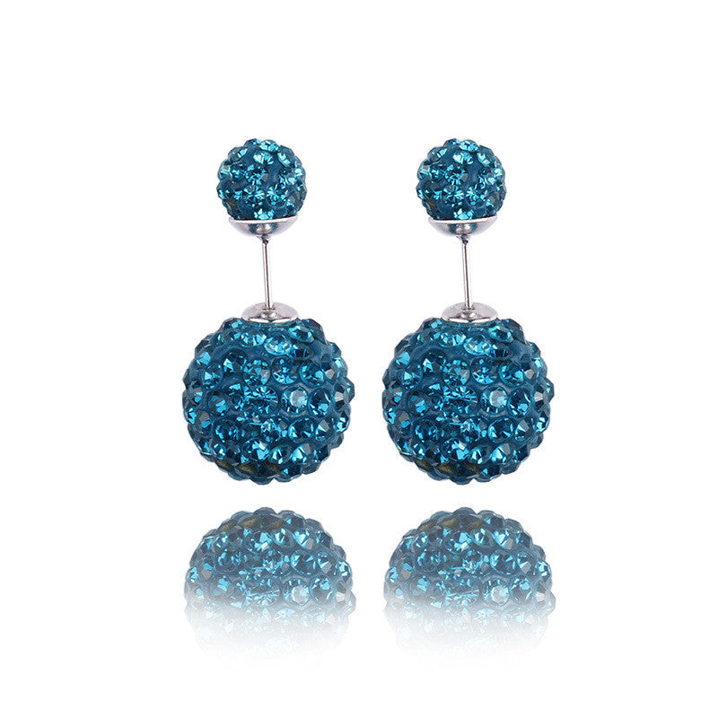 Crystal Double Shambhala Ball Earring - Oh Yours Fashion - 3