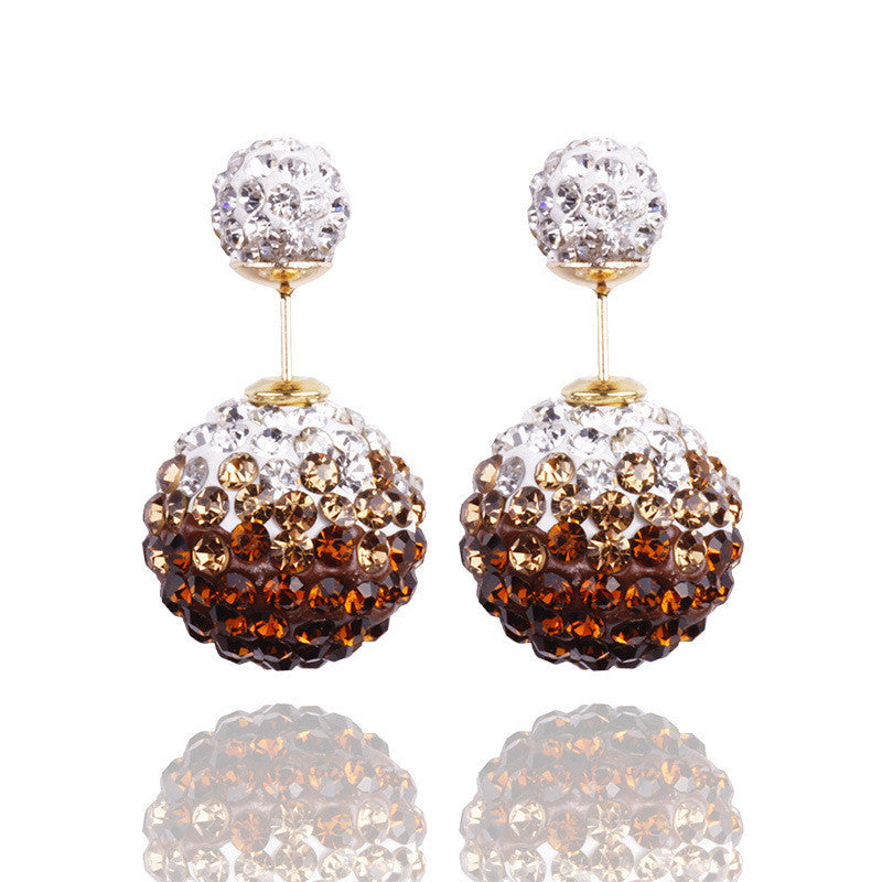 Crystal Double Shambhala Ball Earring - Oh Yours Fashion - 7