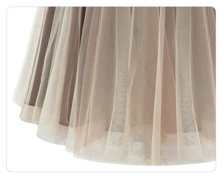 Joker Pure Color Pleated Flared Organza Skirt - Oh Yours Fashion - 5