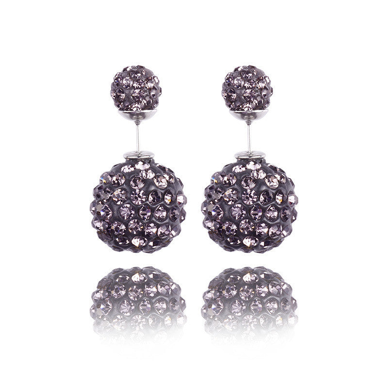 Crystal Double Shambhala Ball Earring - Oh Yours Fashion - 4