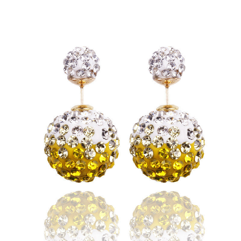 Crystal Double Shambhala Ball Earring - Oh Yours Fashion - 14