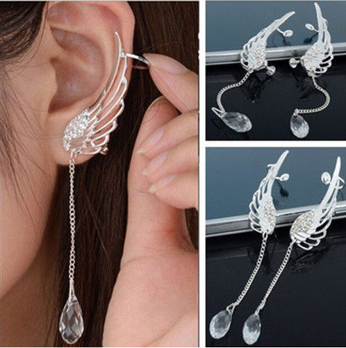 Crystal Angel's Wings Tassel Earring - Oh Yours Fashion - 1