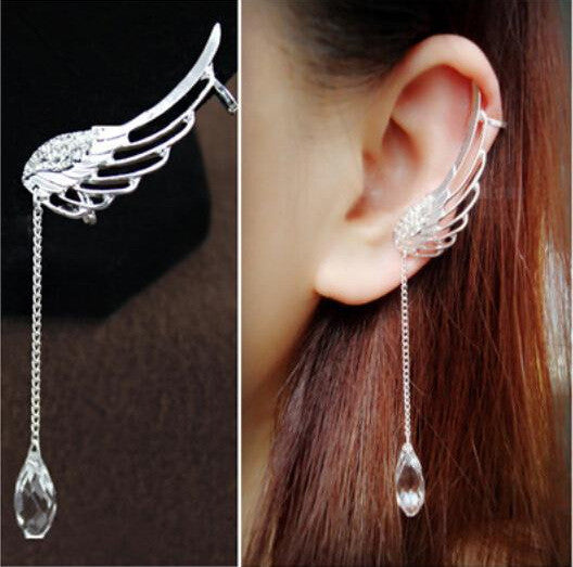 Crystal Angel's Wings Tassel Earring - Oh Yours Fashion - 2