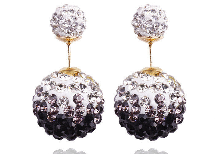 Crystal Double Shambhala Ball Earring - Oh Yours Fashion - 2