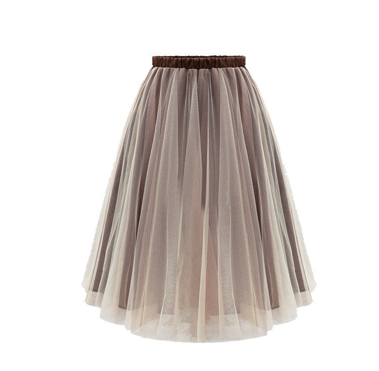 Joker Pure Color Pleated Flared Organza Skirt - Oh Yours Fashion - 4