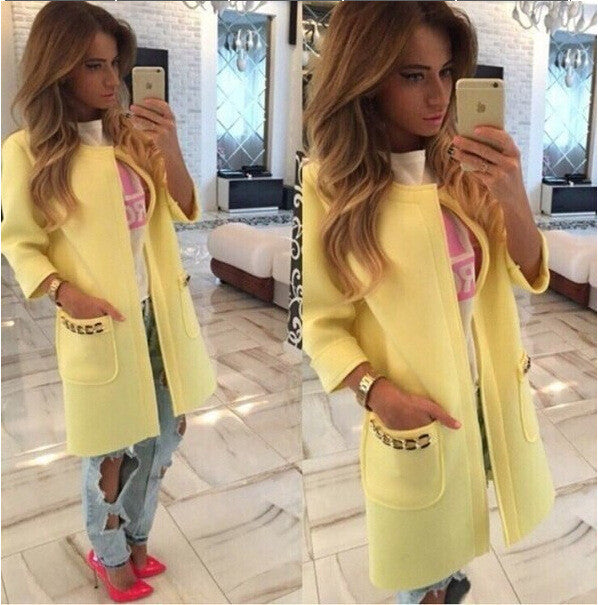 Candy Colors Scoop 9/10 Sleeves Long Loose Coat - Oh Yours Fashion - 3