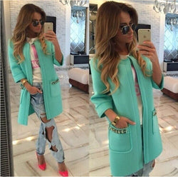 Candy Colors Scoop 9/10 Sleeves Long Loose Coat - Oh Yours Fashion - 1
