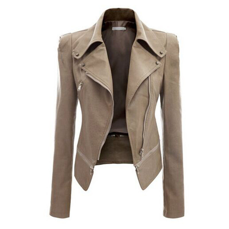 Turn Down Zippered Collar PU Jacket - O Yours Fashion - 3