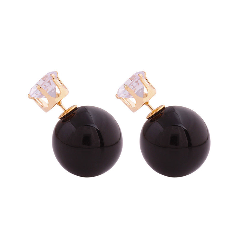 Zircon Crystal Candy Double Side Pearl Earring - Oh Yours Fashion - 44