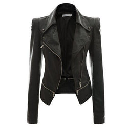 Turn Down Zippered Collar PU Jacket - O Yours Fashion - 1