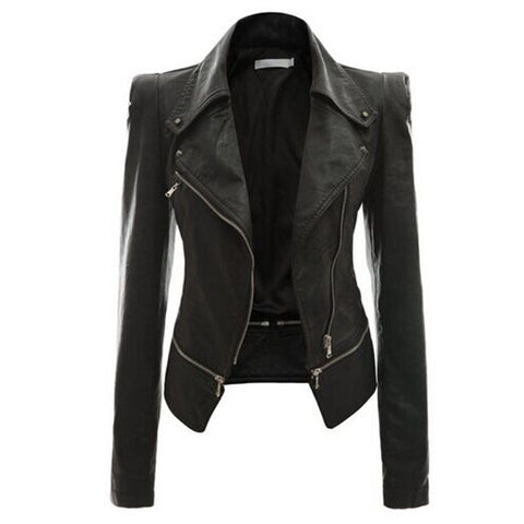 Turn Down Zippered Collar PU Jacket