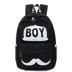 BOY Mustache Print Classical Canvas Backpack School Bag - Oh Yours Fashion - 2
