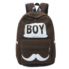 BOY Mustache Print Classical Canvas Backpack School Bag - Oh Yours Fashion - 5