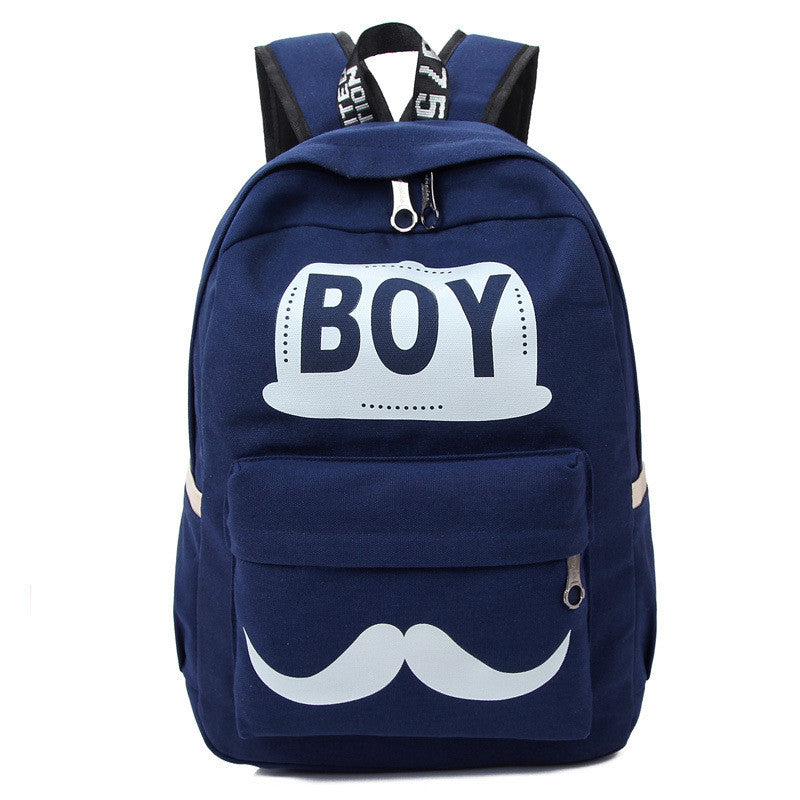 BOY Mustache Print Classical Canvas Backpack School Bag - Oh Yours Fashion - 1