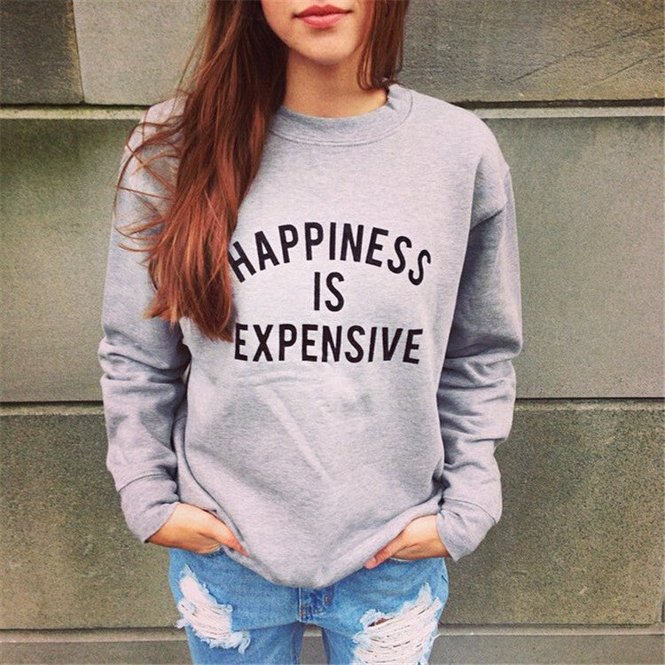 Scoop Print Splicing Pullover Loose Long Sleeve Sweatshirt - Oh Yours Fashion - 1