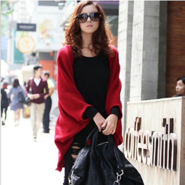 Batwing Solid Color Shawl Knit Loose Cardigan - Oh Yours Fashion - 1