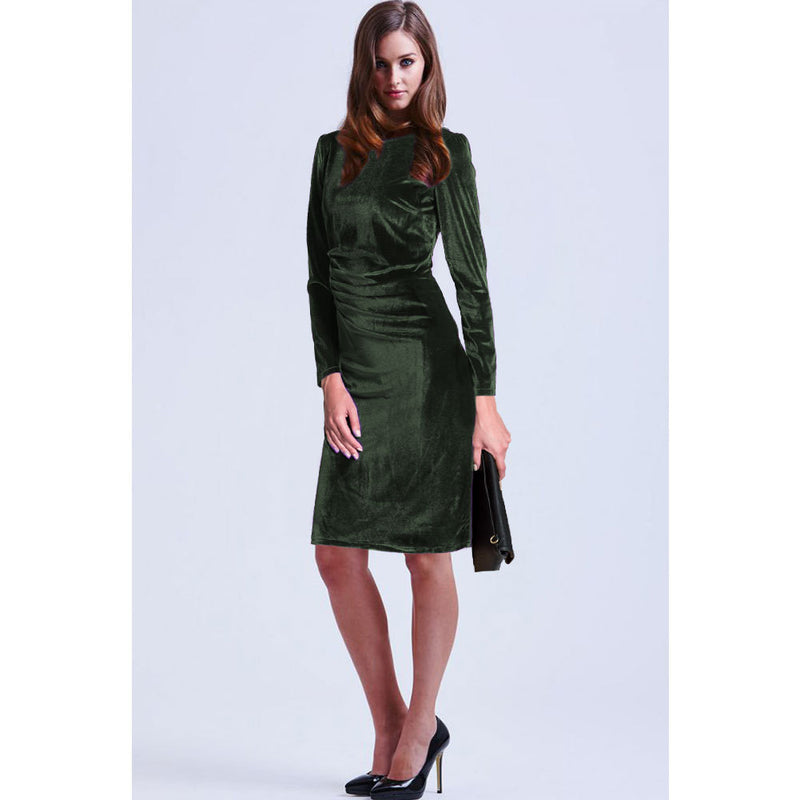 Fashion Velvet Scoop Long Sleeve Knee-Length Dress - Oh Yours Fashion - 9