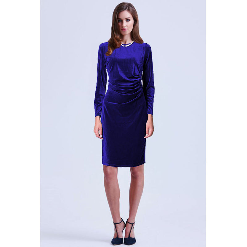 Fashion Velvet Scoop Long Sleeve Knee-Length Dress - Oh Yours Fashion - 7