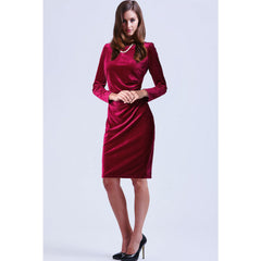 Fashion Velvet Scoop Long Sleeve Knee-Length Dress - Oh Yours Fashion - 3