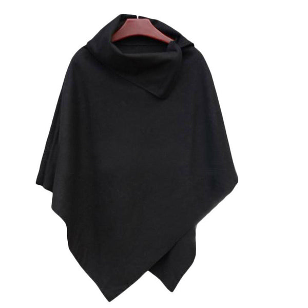 Irregular Hem High Neck Loose Cloak Shawl Coat - Oh Yours Fashion - 2