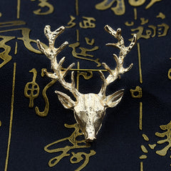 Golden Antlers Elk Christmas Brooch - Oh Yours Fashion - 2