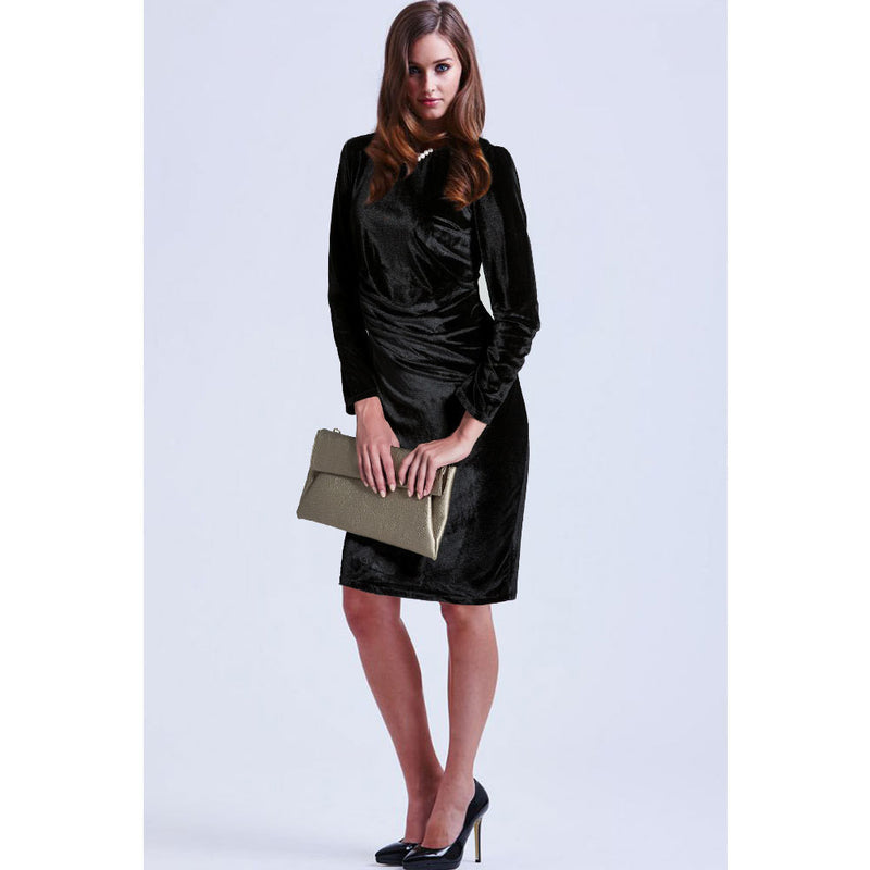 Fashion Velvet Scoop Long Sleeve Knee-Length Dress - Oh Yours Fashion - 6