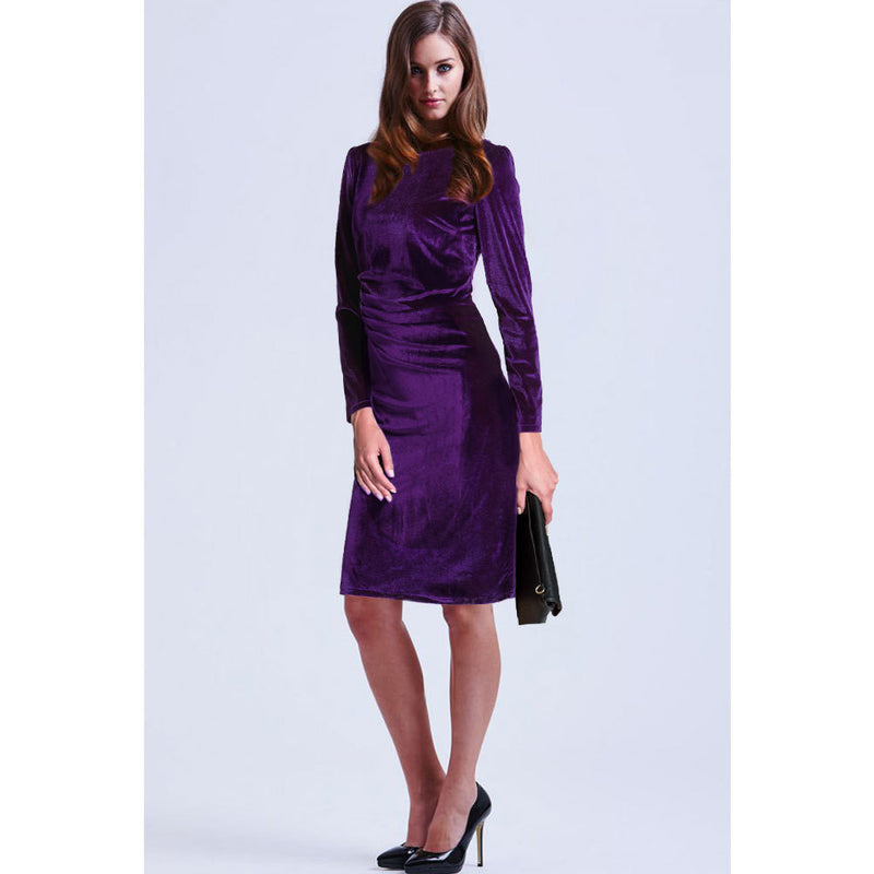 Fashion Velvet Scoop Long Sleeve Knee-Length Dress - Oh Yours Fashion - 5