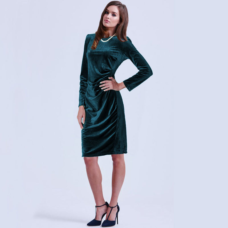 Fashion Velvet Scoop Long Sleeve Knee-Length Dress - Oh Yours Fashion - 8