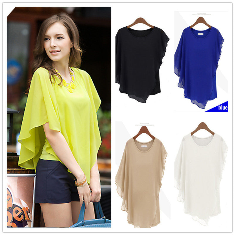 Irregular Scoop Sexy Falbala Chiffon Batwing Blouse - Oh Yours Fashion - 1