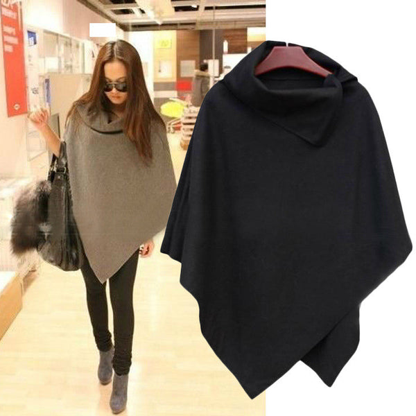 Irregular Hem High Neck Loose Cloak Shawl Coat - Oh Yours Fashion - 1