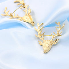 Golden Antlers Elk Christmas Brooch - Oh Yours Fashion - 3