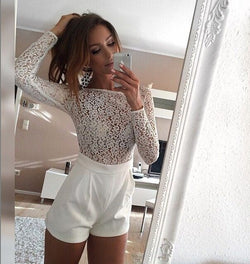 Lace Patchwork Long Sleeves Scoop Short Jumpsuit - Oh Yours Fashion - 1