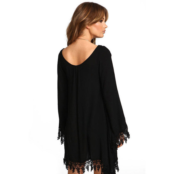 Plus Size Long Sleeve Tassel Black Short Dress - Oh Yours Fashion - 6
