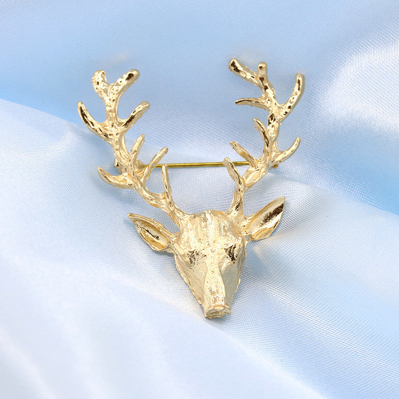 Golden Antlers Elk Christmas Brooch - Oh Yours Fashion - 1
