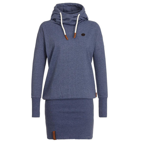 High Neck Bodycon Hoodie Sweatshirt