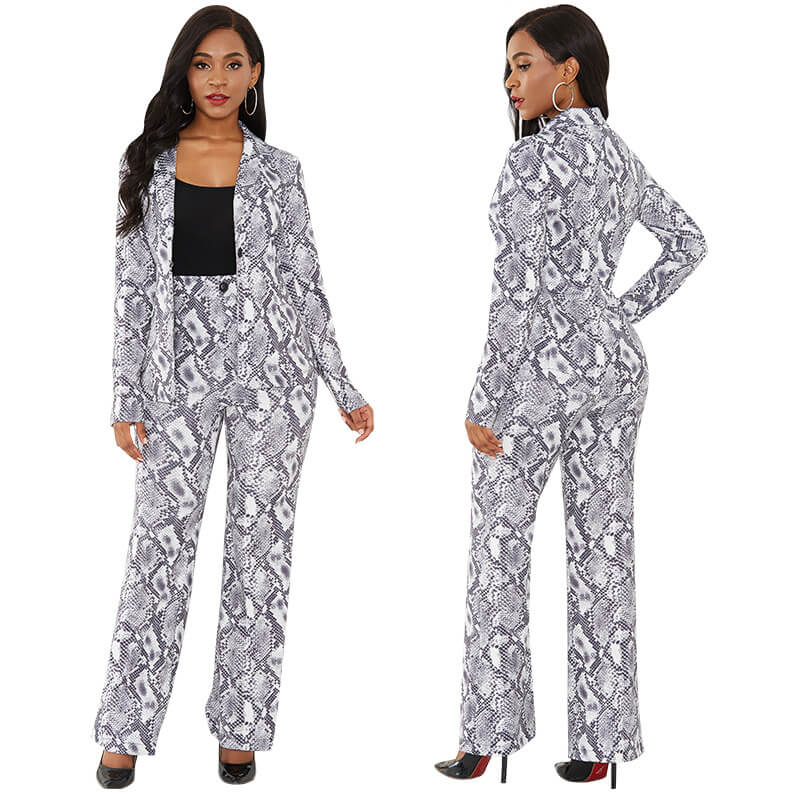 Snakeskin Bodycon High Waist Long Sleeve Blouse Pants Sets