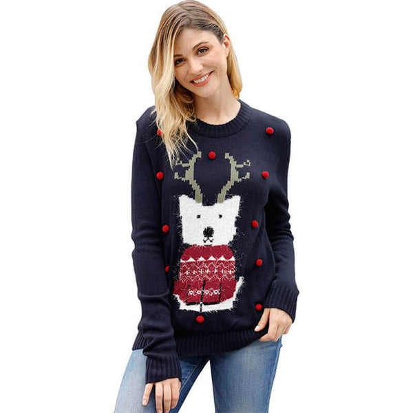 Crewneck Reindeer Knit Sweater