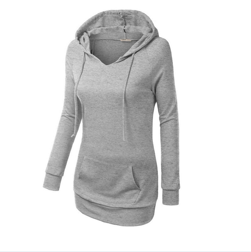 Solid Color Hooded Long Sleeve Pullover Slim Hoodie - Oh Yours Fashion - 4