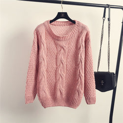 Pull over Loose Pure Color Long Sleeve Sweater - Oh Yours Fashion - 1