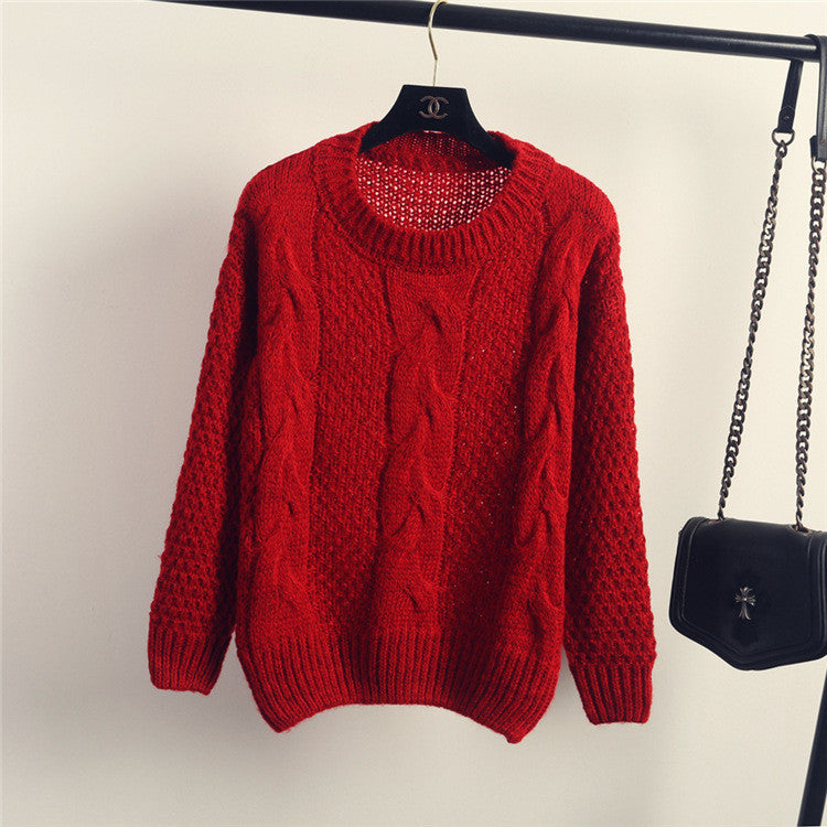 Pull over Loose Pure Color Long Sleeve Sweater - Oh Yours Fashion - 4