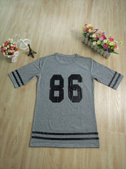 Number Print Short Sleeve Scoop Bf Style Long T-shirt - Oh Yours Fashion - 6